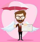 Angel Man-hipster with an umbrella Wings and Letter Piirros