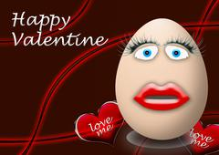 Happy valentines day funny egg face Stock Illustration