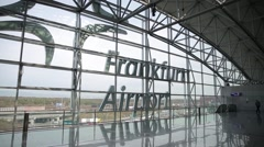 Frankfurt airport architecture shuttle service interior Stock Footage