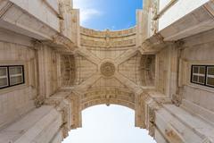 rua augusta arch in lisbon, portugal - stock photo
