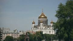 Restoration of the main dome of Cathedral of Christ the Saviour, Moscow, Russia Stock Footage