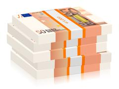 Fifty euro stacks Stock Illustration