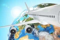 airplane travel background. airliner and earth. - stock illustration