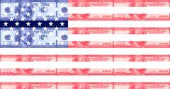 hundred dollar bill american flag - stock illustration