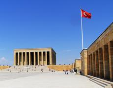 Turkish Flag, Anitkabir in Ankara, Turkey Stock Photos