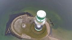 Kiel lighthouse Falkenstein fly around aerial Stock Footage