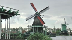 Tourism in the Open Air Museum the Zaanse Schans Stock Footage