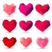 Set of heart gem symbols - stock illustration