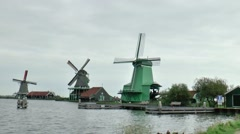 Tourism in the Open Air Museum the Zaanse Schans - stock footage