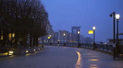 Westferry Circus at Canary Wharf London in the early evening Stock Footage