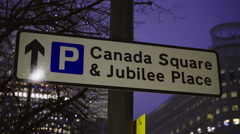 Sign Canada Square and Jubilee Place London Stock Footage