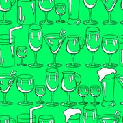 Seamless pattern with cocktail glasses for restaurant or bar menu Piirros