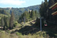 Funicular Road Going High in Carpathian Mountains - stock photo