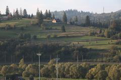 Picturesque Mountain Village in Ukrainian Carpathians Stock Photos