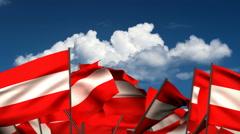 Waving Austrian Flags Stock Footage