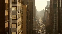 long city street from above. mew york city architecture background - stock footage
