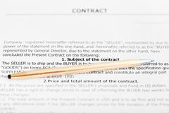 golden pen on sheet of sales agreement - stock photo