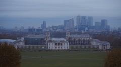 London skyline from Greenwich Park Stock Footage