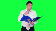 Businessman under stress chroma key - stock footage