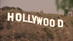 hollywood sign in hills-pan zoom - stock footage