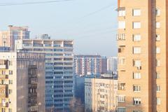 residential quarter in winter morning - stock photo