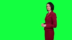 Business woman points somewhere chroma key Stock Footage