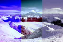 4K. InfraRed landscape: Movement of the clouds on the mountains Elbrus,  Stock Footage