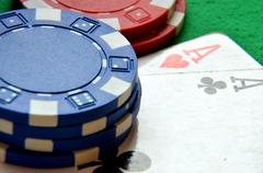 Poker chips pile and aces detail Stock Photos