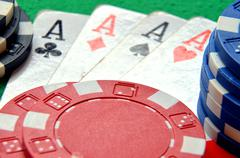 poker chips pile and aces detail - stock photo