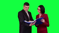 Business people reading documents chroma key Stock Footage