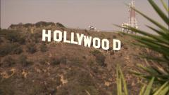 hollywood sign in hills-palm trees-tilt&zoom - stock footage