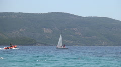 Motor Boat Going to a Yacht Boat, Yachting Sea Contest, Mediterranean Vacation. Stock Footage