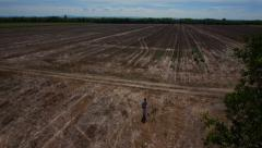 Prairie farmland aerial shot descending from high altitude - stock footage