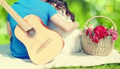summer, love, valentines day, vacation and people concept - lovely young coup - stock photo