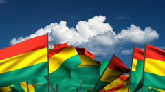 Waving Bolivian Flags Stock Footage
