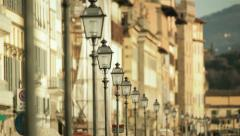 Old style street lights urban illumination in town centre Stock Footage