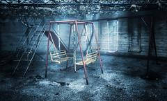 old rusted playground - stock photo