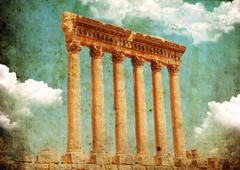 retro grungy style photo. jupiter's temple, baalbek, lebanon - stock photo