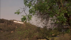 hollywood sign in hills-zoom - stock footage