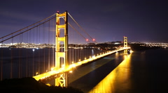 Time Lapse of Star Trails over Golden Gate Bridge into Sunrise -Tilt Up- Stock Footage