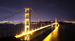 Time Lapse of Star Trails over Golden Gate Bridge into Sunrise -Zoom In- Stock Footage