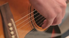 Man playing acoustic guitar relaxing melody 1 Stock Footage
