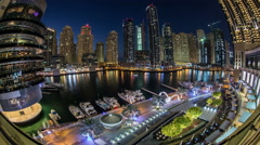 Ultra HD, 4K, city life at Dubai Marina with skyscraper Stock Footage