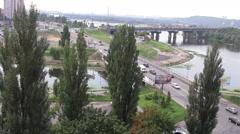 Bridge Landscape Kiev - stock footage
