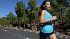 Running woman exercising living healthy lifestyle - Sport runner girl Stock Footage