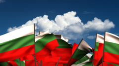 Waving Bulgarian Flags Stock Footage