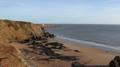Elevated view of beach St Cyrus Nature Reserve Scotland Stock Footage