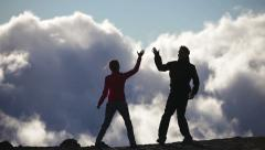 Achievement, Success and accomplishment high five - stock footage