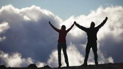 Success, achievement and accomplishment people hiking - stock footage