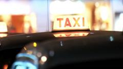 Taxi car on the evening city street. Hong Kong Stock Footage